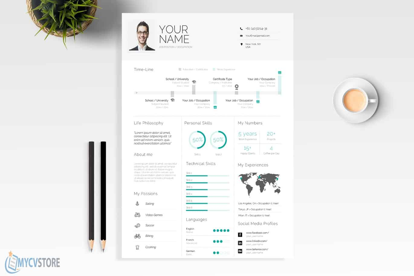 Clean Infographic Resume Template
