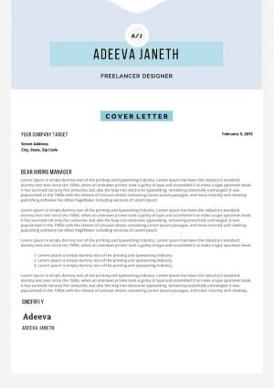 Example Cover Letter for Application Template